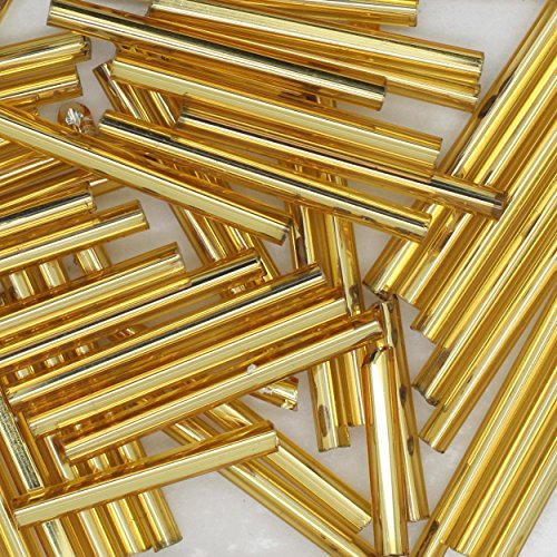 Gold Silver Lined Bugle Beads Czech Glass 25mm 1