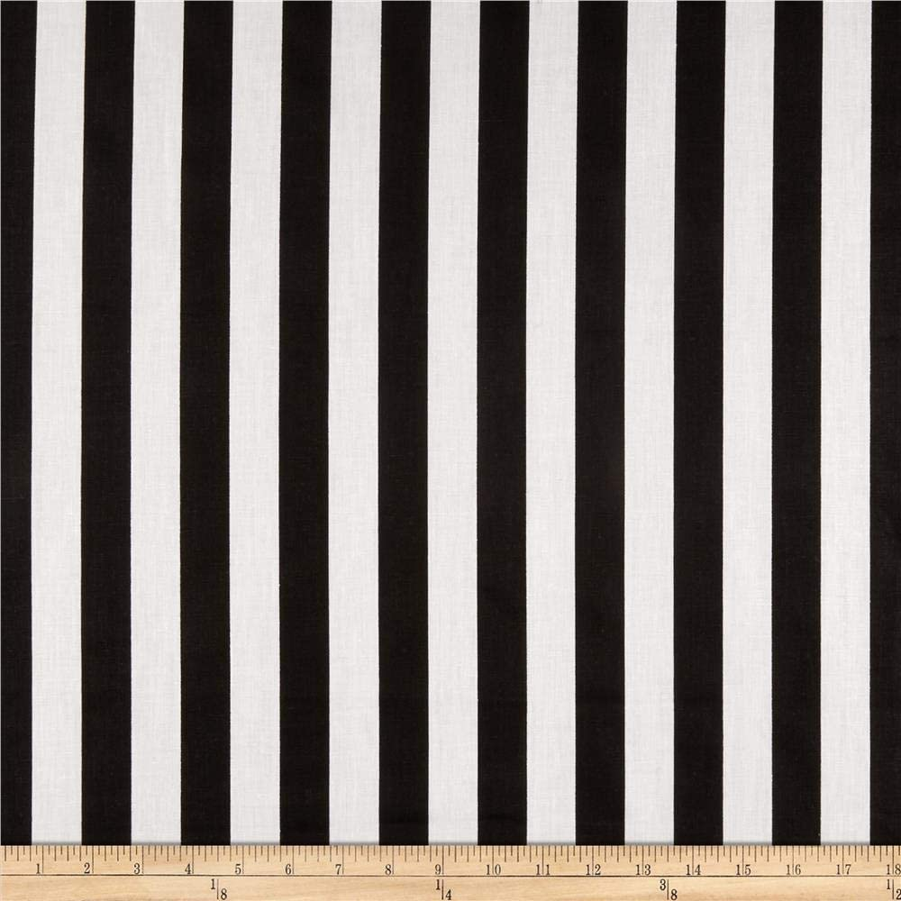 Amazon Com Richland Textiles 1 In Stripe Black White Fabric By The Yard