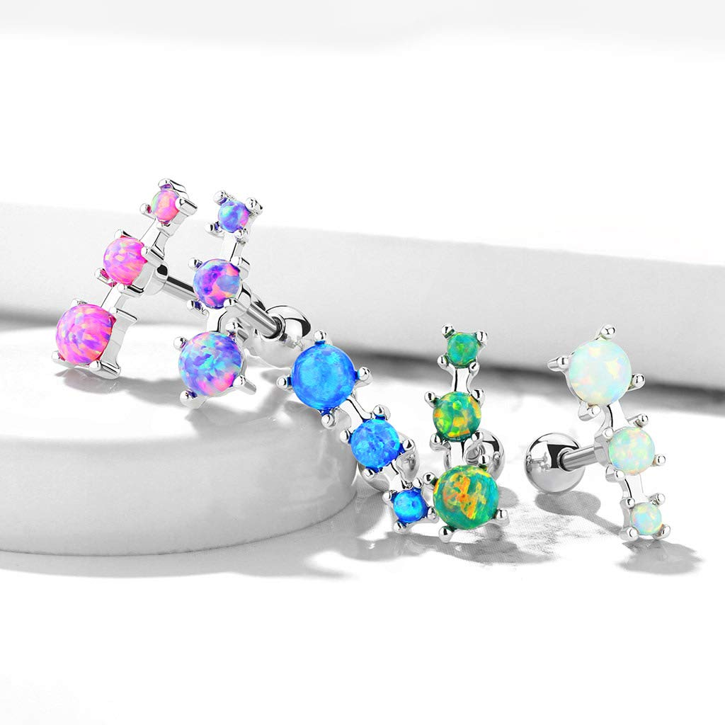 MoBody 16G Triple Opal Prong Set Tragus Earring Surgical Steel Cartilage Helix Ear Piercing Stud
