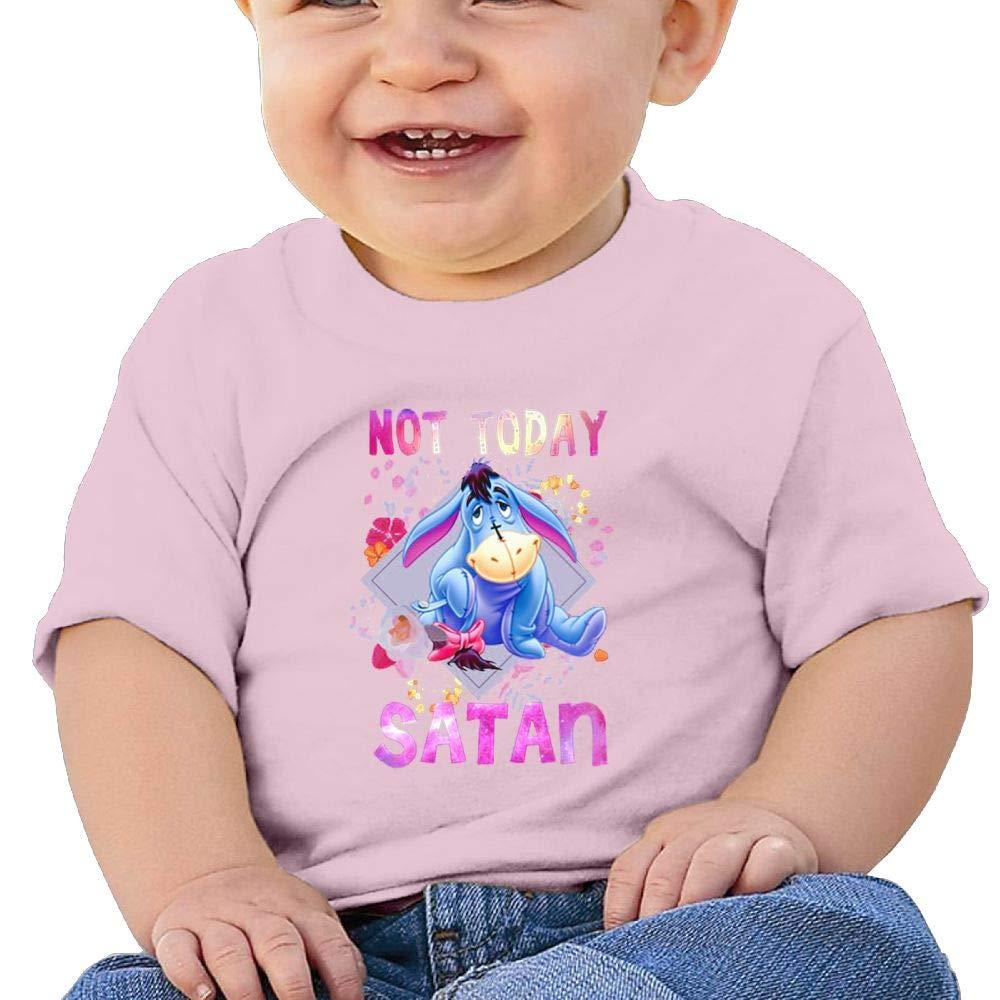 Not-Today-Satan Baby Boys Cool Short Sleeve Cotton T-Shirt Pink