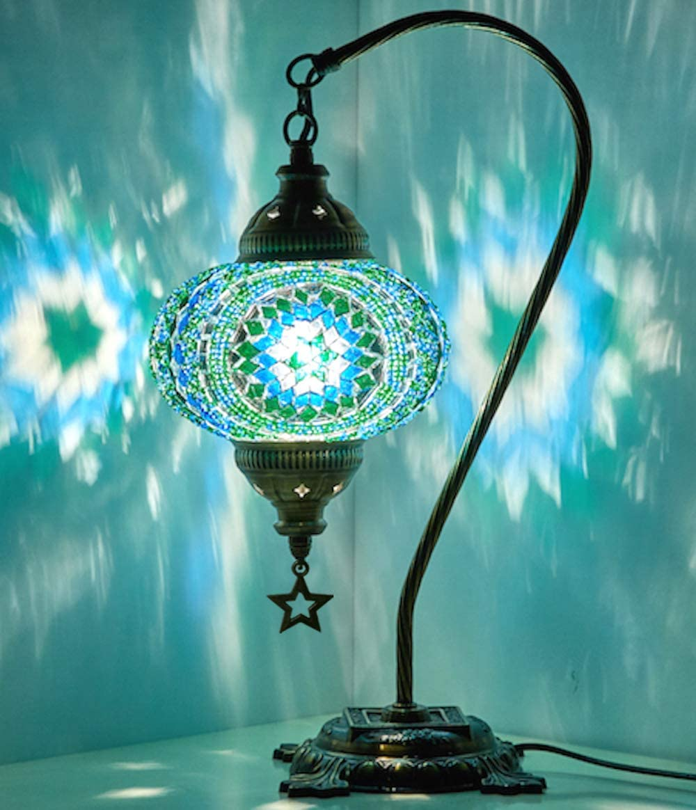 New BOSPHORUS Stunning Handmade Swan Neck Turkish Moroccan Mosaic Glass Table Desk Bedside Lamp Light with Bronze Base (Green)