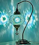 New BOSPHORUS Stunning Handmade Swan Neck Turkish Moroccan Mosaic Glass Table Desk Bedside Lamp Light with Bronze Base…
