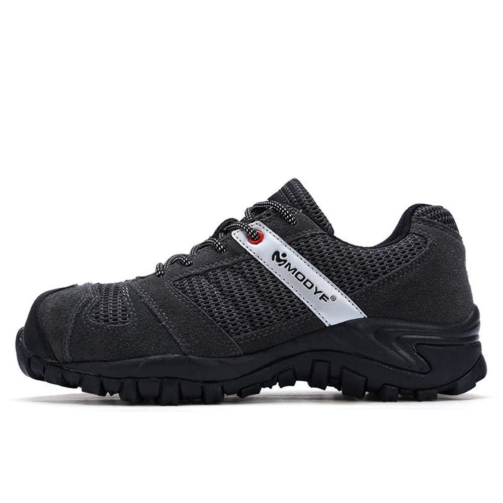 ZHRUI Mens Steel Toe Schuhe Mesh Punture Resitant Anti Piercing Outdoor Sicherheitsschuhe (Farbe   Schwarz Größe   EU 46)