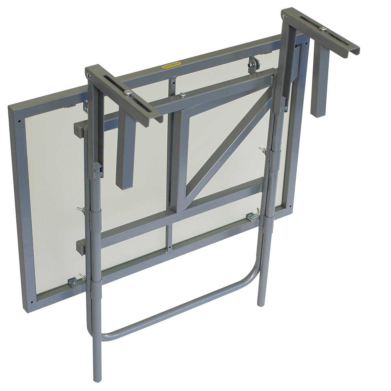 Gartenmoebel Balkonh/ängetisch SIZILIEN 60x40cm Stahl Silber Glas Balkon H/ängetisch Tisch Balkonm/öbel