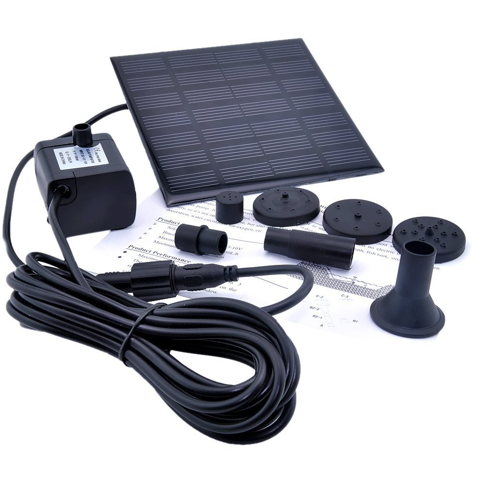 SODIAL 1.2 Watt Solar Power Water Pump Garden Fountain / Submersible Pump with Suckers at the Bottom, Features A Square Solar Panel to Be Staked on the Ground