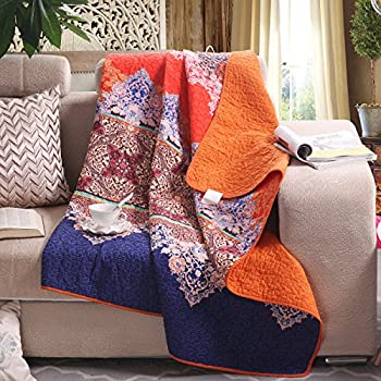 """Luxury Reversible 100% Cotton Rich Printed Boho Stripe Quilted Throw Blanket 60"""" x 50"""" Machine Washable and Dryable"""