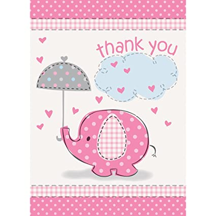 Amazon Com Pink Elephant Girl Baby Shower Thank You Cards 8ct