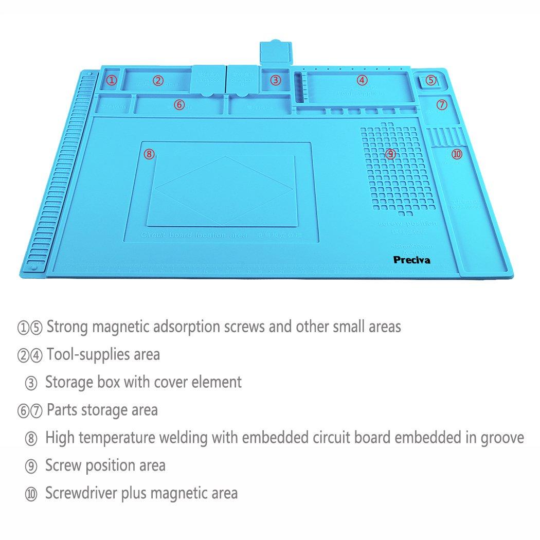 Anti-Static Soldering Mat, Preciva 500℃ Heat-resistant Magnetic Multi-purpose Work Station Pad for Soldering Brazing Phone Watch Repair (45 x 30 cm) by Preciva (Image #2)