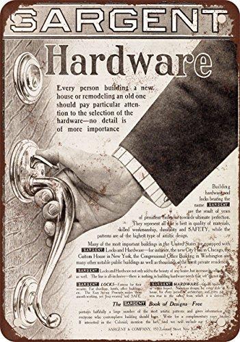 1911 Sargent Door Lock Hardware Vintage Look Reproduction Metal Signs 6X9  Inches