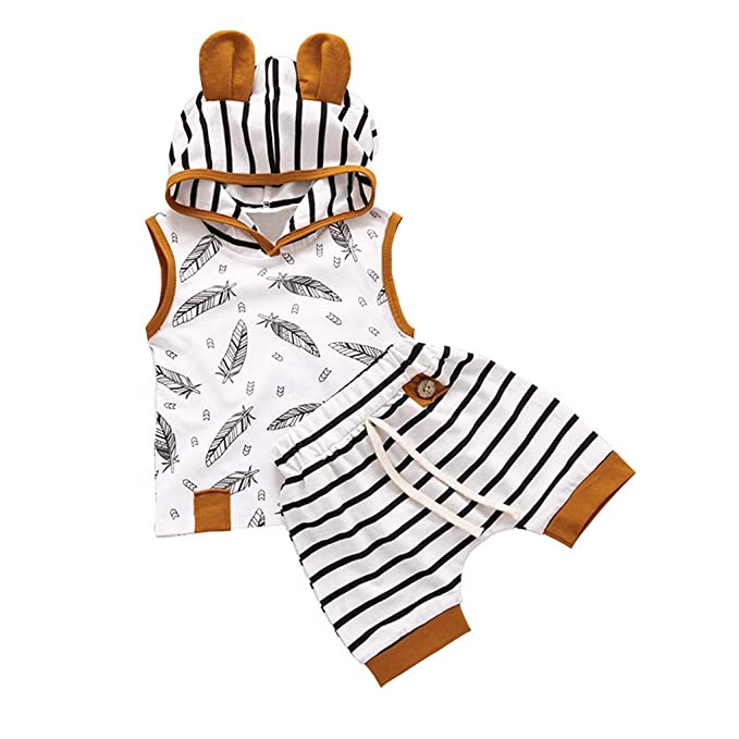 bdfe7e2bf093e Cuekondy Newborn Toddler Baby Boy Girl 2019 Summer Clothes Outfits Hooded  Feather T shirt Tops Striped Shorts Pants Set: Amazon.ca: Clothing &  Accessories