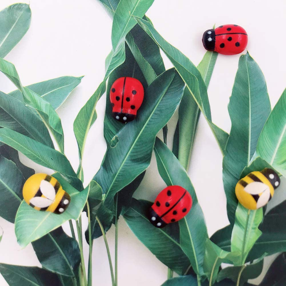 120pcs Wood Bees and Wood Ladybugs Flatback Bees Wooden Ladybugs Self-Adhesive Embellishments for Craft Scrapbooking Baby Shower Birthday Party Decoration