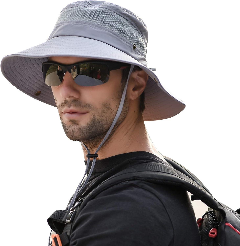 DecStore Cappello da Pesca allaperto da Uomo in Maglia Traspirante UPF 50 con Cappuccio di Protezione Solare Cappello a Tesa Larga per Campeggio Safari di Pesca Escursionismo