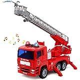 yoptote Camion dei Pompieri Giocattolo Veicolo & Set di Accessori con Luci Sirena e Scala Allungabile per i Bambini 3+