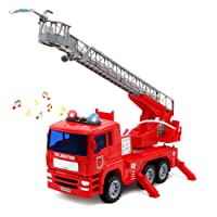 yoptote Camion de Pompier Enfant Véhicule avec Lumières Sons et Fonction de Pulvérisation d'eau Maquette Camion pour Plus de 3 Ans