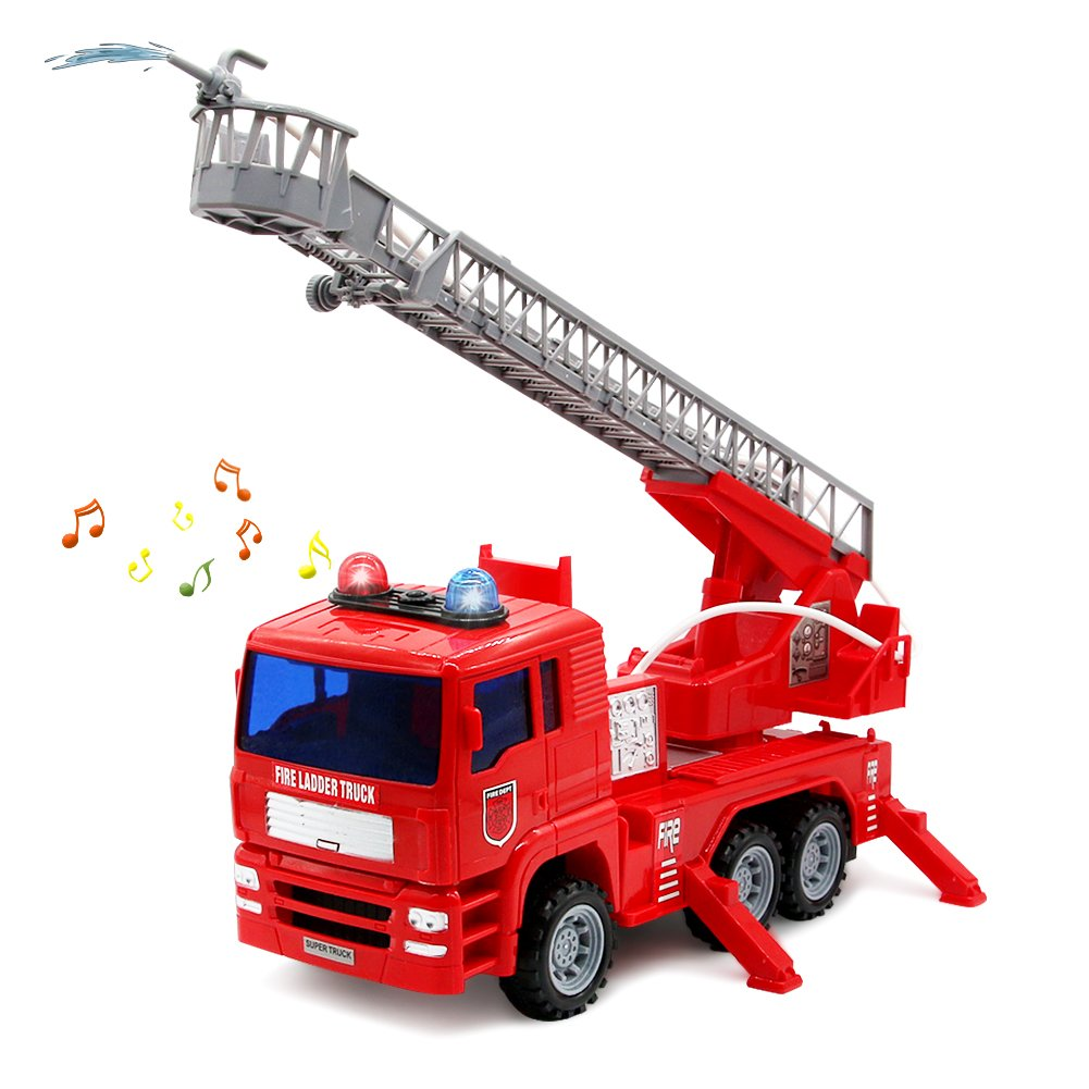 yoptote Fire Truck Rescue Ladder Toy Extending Rotating Ladder Shoot Water with Sirens Lights & Sound Firefighter Role Play Toy Vehicle Car for Children Toddlers Kids Boys Girls