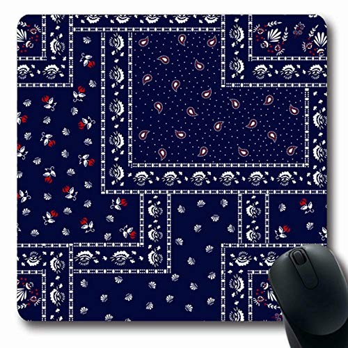(Ahawoso Mousepads Patchwork Bandanna Pattern Bandana Curve Ethnic Handkerchief Paisley Scarf Abstract Craft Oblong Shape 7.9 x 9.5 Inches Non-Slip Gaming Mouse Pad Rubber Oblong Mat)