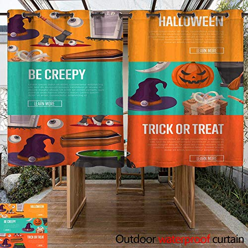 RenteriaDecor Outdoor Curtains for Patio Sheer Trick or Treat and be Creepy Halloween Flyers W63 x L72