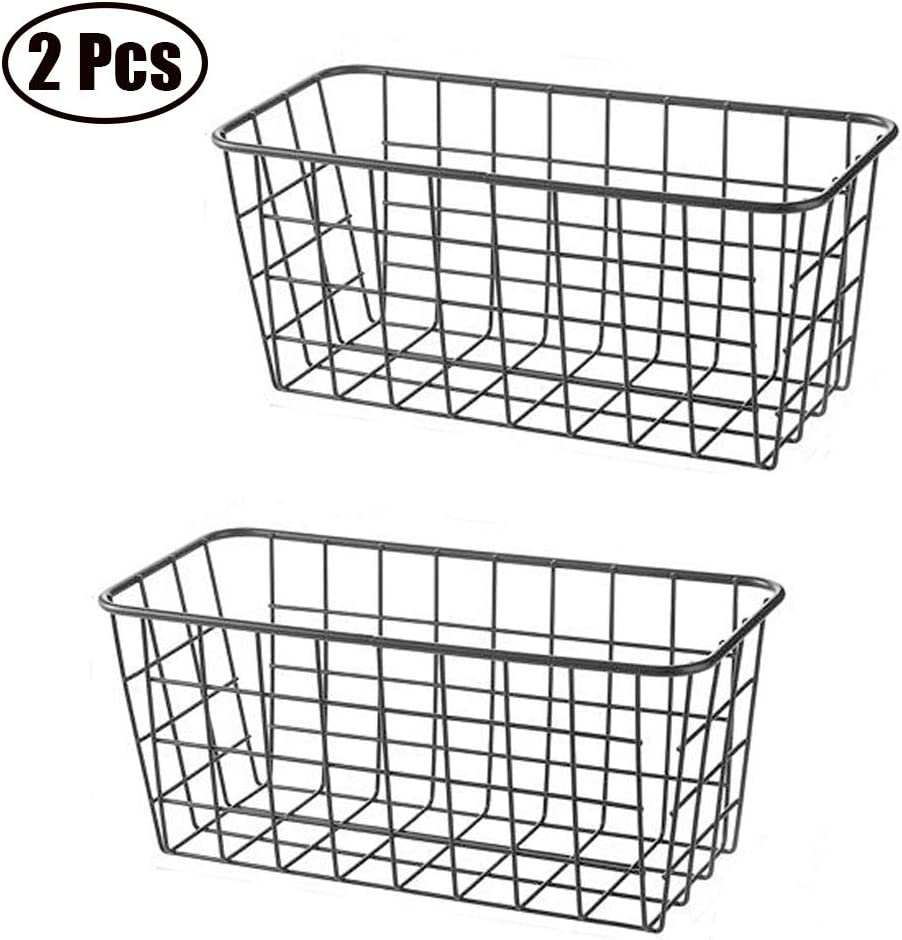 2 PCS Wall Mounted Kitchen Wire Metal Basket with Hanging Hooks Wall Decor Storage Organizer Bin for Kitchen Office Bathroom Mudroom Entryway Laundry Room (Black)