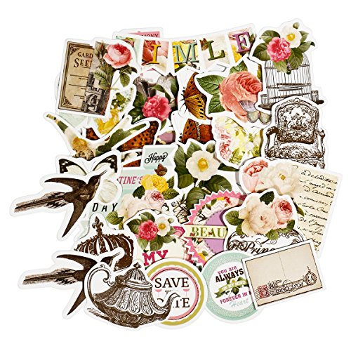 FaCraft Ephemera Vintage Scrapbooking Supplies Scrapbook Decorative Cardstock Die-Cut Pack,25 Pieces Assorted Colors/Designs Embellishments for Kinds of Themes