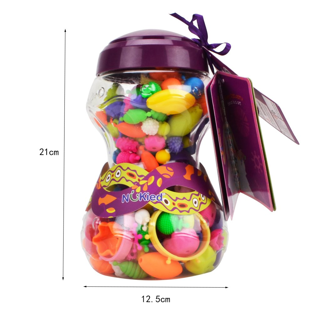 HANMUN Snap Pop Beads Girls Toy 252 Pieces DIY Jewelry Making Kit Necklace Ring Bracelet Arts Crafts Gifts for 4, 5, 6, 7 Year Old Kids Girls