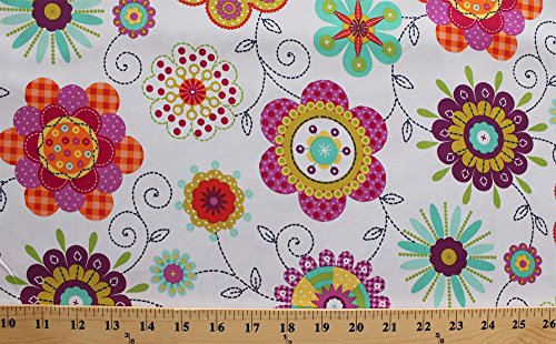 Cotton Peppy Petals Multi Flowers on White Cotton Fabric Print by the Yard (cx6353-whit-d)