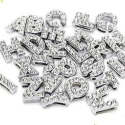 260pcs A-Z Full Rhinestones 8mm Slide Alphabet Letters for 8mm Slide Wristbands/Bracelets,Jewelry Making Charms