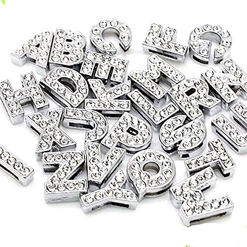 - 52pcs A-Z Full Rhinestones 8mm Slide Alphabet Letters for 8mm Slide Wristbands/Bracelets,Jewelry Making Charms