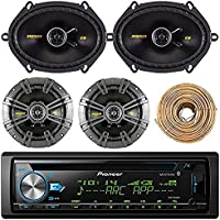 Pioneer DEH-X6900BT Car Bluetooth Radio USB AUX CD Player Receiver - Bundle Combo With 2x Kicker CS654 6.5 300W 2-Way Coaxial Speakers + 2x 6x8 450W Speaker + Enrock 50 Foot 18 Gauge Speaker Wire