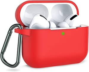 Coffea AirPods Pro Case with Keychain, AirPods 3 Protective Cover Silicone Case for AirPods Pro Charging Case (Front LED Visible) (Red)