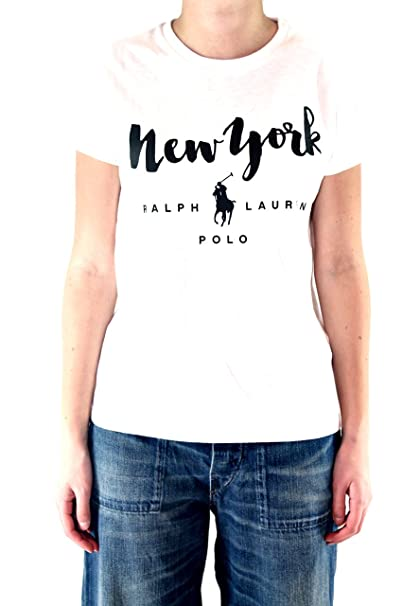 Polo Ralph Lauren RL City tee-Short Sleeve-Knit Camiseta, Weiß ...