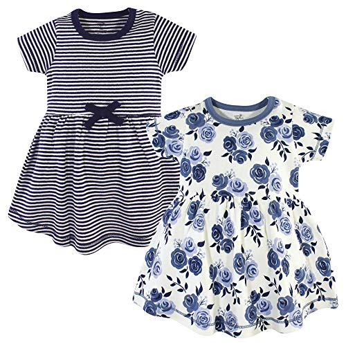 Touched by Nature Baby Girl Organic Cotton Dresses, Navy Floral Short Sleeve 2 Pack, 5 Toddler (5T)