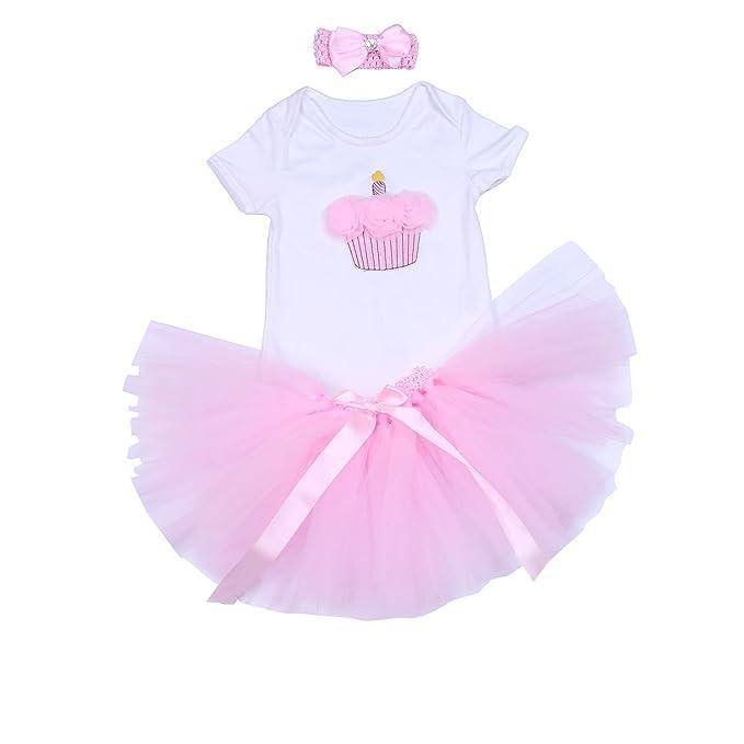 7de663fa8680 BabyPeg® Bebé Niña 3pcs traje de pijama para Primer Cumpleaños con tutú  Diadema: Amazon.es: Ropa y accesorios