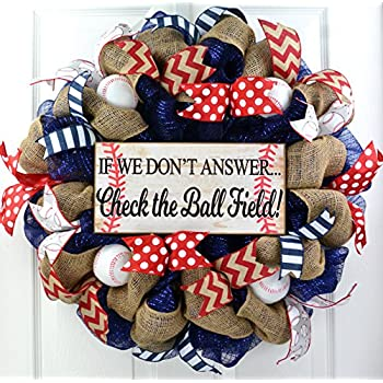 Amazon Com Baseball Door Wreath Made With Used Leather Baseballs