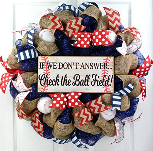 Ball Sign - Baseball Front Door Wreath | If We Don't Answer Ball Field | Mesh Wreath | Navy Blue Red White