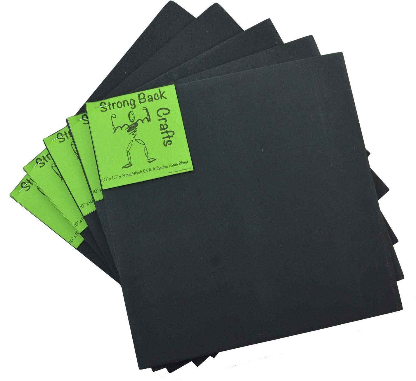 Black 6mm Thick (5 Pack)-Self-Stick Adhesive 9.5'' x 9.5'' EVA High Density Foam Sheets by Strong Back Crafts- Cosplay Materials, Costumes, Cushioning, Seats, Dog Traction, Scrapbooking