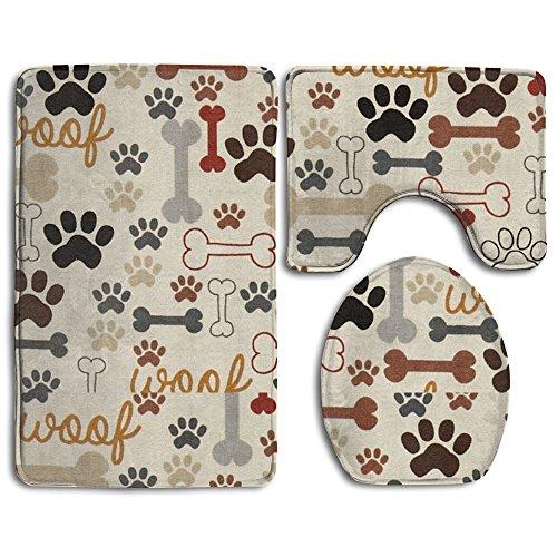 Dog Bones & Paw Prints Cream 3 Piece Bath Rug Set Bathroom Rug Set Contour Rug And Lid Cover Absorbent Anti-Slip (Paw Print Rug)