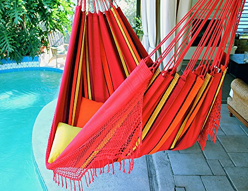 Sweet Cherry – Fine Cotton King Size Hammock with Croche Fringe, Made in Brazil