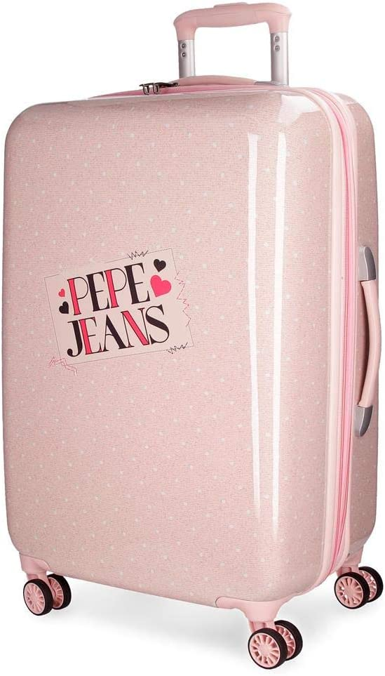 Maleta mediana Pepe Jeans Olaia rosa rígida 67cm