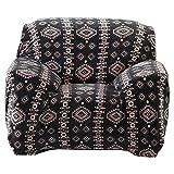 eDealMax Tissu Polaire Accueil Bohemia Style Canapé Chaise Protecteur Housse 90-140cm Noir