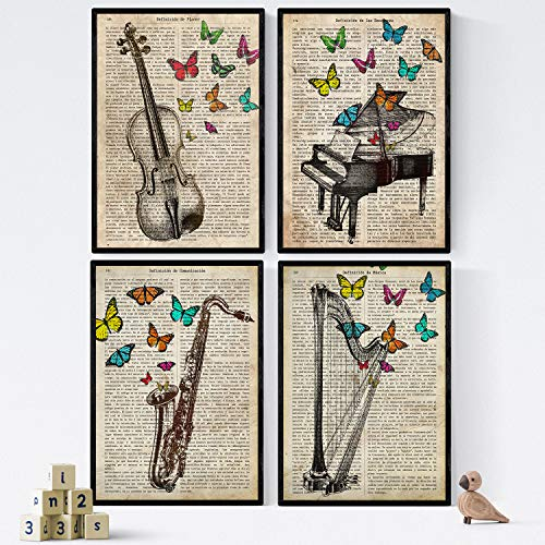 Nacnic Vintage Piano, Harp, Violin, Saxon Music with Emotions - Set of 1 - Unframed 8x11 inch Size - 250g Paper - Beautiful Poster Painting for Home Office Living Room
