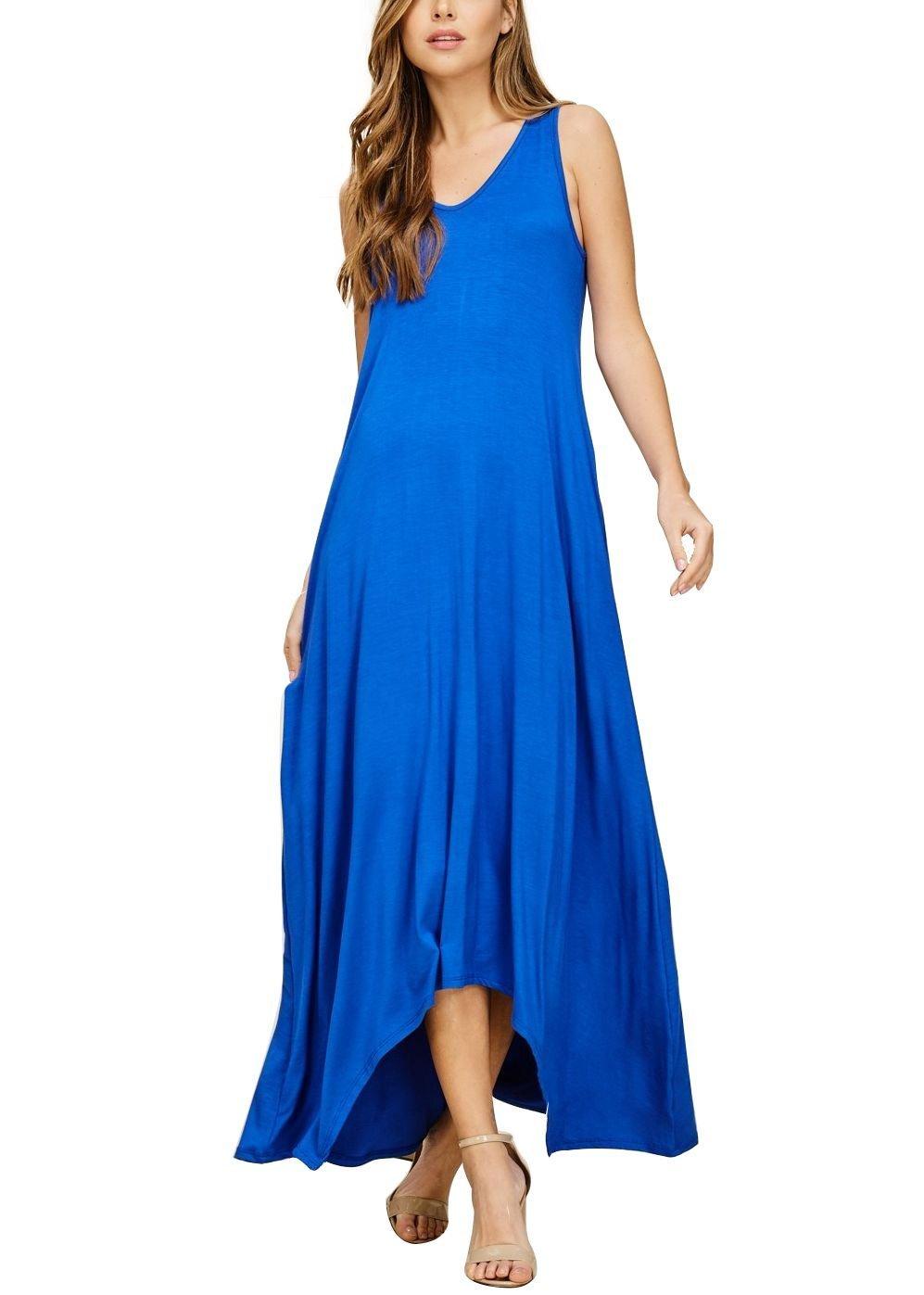 Mari Cias Loose Maxi Dress with Pockets (Royal Blue, X-Large)