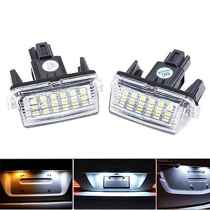 PolarLander 2Pcs Car LED matrícula Enciende 12V SMD3528 Number Plate Lamp para Corolla Yaris Camry 12-15 Auris Vios Hybrid: Amazon.es: Coche y moto