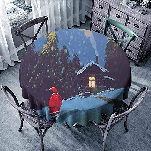 ScottDecor Patio Round Tablecloth Fantasy,Christmas Santa Claus Walking to The Mountain House Surrounded by Pines Scenery,Multicolor Fabric Tablecloth Diameter 50