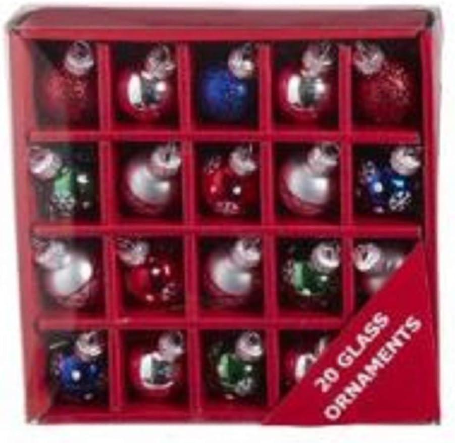 Kurt Adler GG0925 Miniature Multi-Color Ball Holiday Decor Ornaments, Set of 20, Glass and Iron