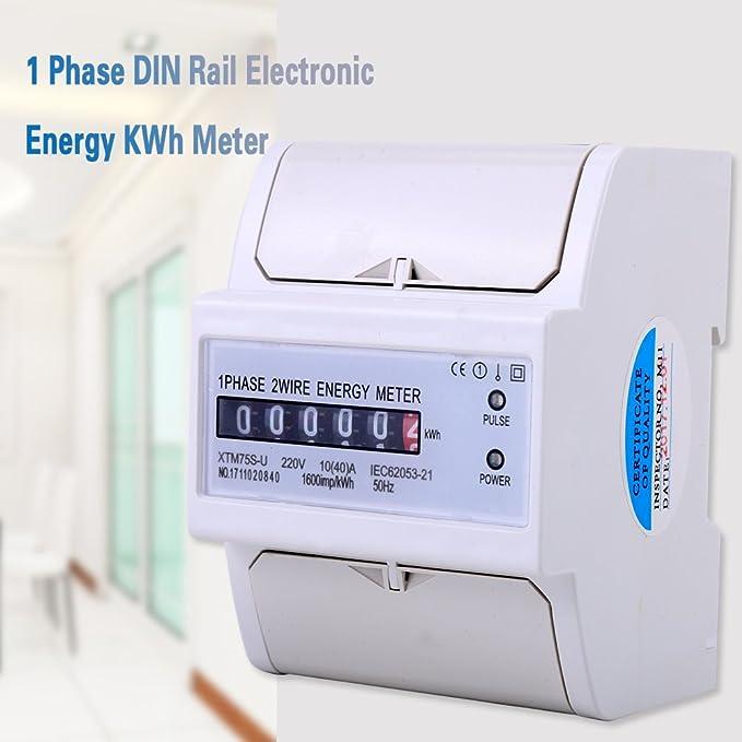 XTM75S-U Energiezähler Digital LCD Einphasige 2 Draht KWh Meter DIN ...