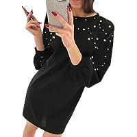 ZODOF Vestidos Invierno Mujer Moda Simple para Mujer Casual O-Cuello Rebordear sólido de Manga Larga Suelto Mini Redondo Color Sólido De Punto Suelto Vestido De SuéTer para Fiesta
