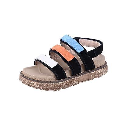74a109ce6489 LINNUO Womens Velcro Sandals Flatform Thick Sole Roman Platform Slingback  Casual Summer Beach Shoes (Black