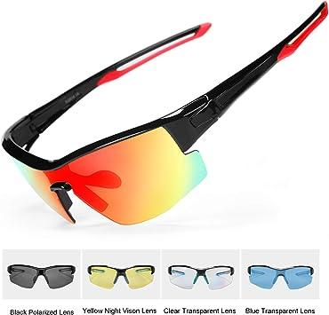 INBIKE Gafas Sol Polarizadas Ciclismo Con 5 Lentes De Pc Intercambiables y Montura De TR90, Gafas Uv400 De Mtb Bicicleta Deportivas Antivaho Unisex-Adulto(armadura rojo negro + lentes de colores): Amazon.es: Deportes y