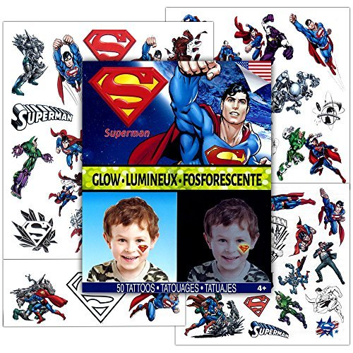 DC Comics Superman Glow in the Dark Temporary Tattoos, Party Supplies Pack (50 Tattoos)