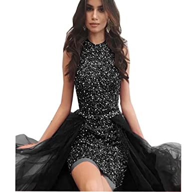 fc4e130bbcd Chady Sparkly Black Short Prom Dresses with Tulle Detachable Skirt  Sleeveless Crystal Beading Cocktail Party Dresses